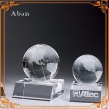 crystal glass logo base globe ball,logo crystal glass item
