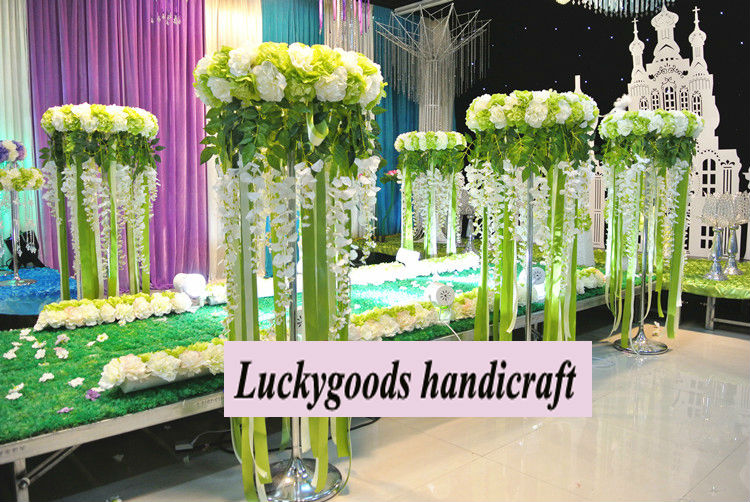 Wedding Display Green And White Artificial Tall Flower Stand - Buy ...