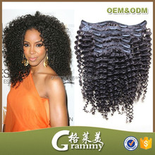 New arrival alibaba recommend high quality 100% human black and wavy clip in hair extensions