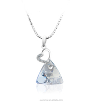 fashion 925 silver blue triangle pendant necklace Y30254