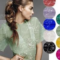 silk mesh embroidered organza fabric