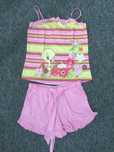 2015 woman 100% cotton printed stripe vest and short pants, lovers pajamas set