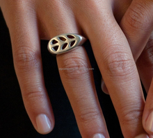 Tribal Leaf Rings Silver and Hand Carved Tribal Rings