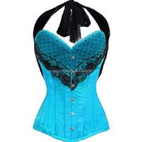2015 Newest Sexy Underbust Blue Dance Corsets For Women Steel Boned Corsets