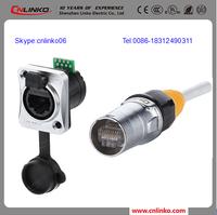 XLR Cat5 Socket Panel Mount Waterproof IP67 RJ45 PCB Jack RJ45 Bulkhead Electrical Connector
