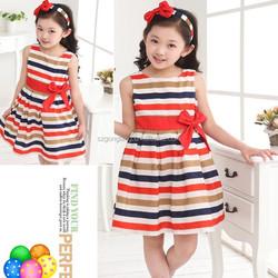 Children Kids Girls Summer beautiful one-piece skirt Dress Stripes Children Sleeveless Clothes 2-6Y