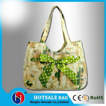 Latest design foldable pattern beach bag,fashion print floral beautiful bow handbag for women