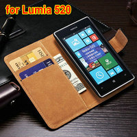 2014 new genuine leather wallet phone case for Nokia Lumia 520 book style with 2 card slots and stand design
