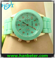 Geneva Silicone Golden Crystal Stone Quartz Ladies/Women/Girl Jelly Wrist Watch