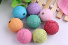Wholesale Mixed colors round bubble gum acrylic crackle beads/Bulk acrylic Chunky Jewelry Beads
