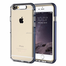 Shockproof LED light flash blink flexible TPU bumper frame clear transparent hard PC plastic slim shell case cover for iPhone 6s