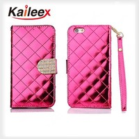 Luxury Glitter Bling Diamond Wallet Leather Case With Card Slot For Iphone 6 Wallet Case