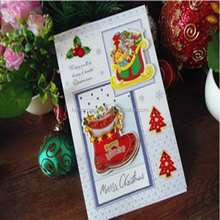 2015 Top quality beautiful embossing for foldable christmas greeting card wholesale
