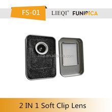 New products 2016 mobilephone 3 in 1 wide angle lens fish eye lens macro soft clip lens for smart phone/pad/ip/tablet PC