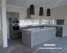 Grey wooden style laminated finish kitchen cabinet