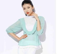 2015 spring lace stitching Slim seven lantern sleeve chiffon shirt jacket brand women's discount wholesale