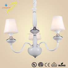 GZ20538-3P wholesale glass chandelier lanterns pendant light with drum shade chrome color white glass hanging lamps