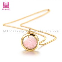 fashion changeable pendant rose quartz stone necklace