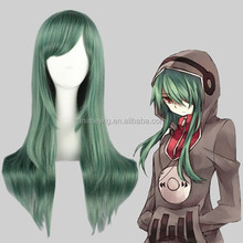 High Quality 65cm Medium Long Straight Kagerou Project-Kido Tsubomi Green Synthetic Anime Wig Cosplay Hair Wig Party Wig