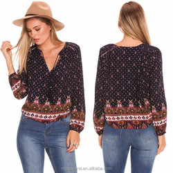 Latest Design Long Sleeve Brazil and Chile Fashion Ladies Top with Boho Print