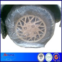 Disposable plastic car wheel cover