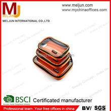 China factory Travel Storage pouch with zipper customized logo trolley Type toiletry bag clear plastic makeup container