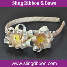 Natural Polyester Satin Ribbon Headband With Two Sunflowers