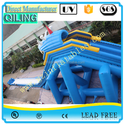 {Qi Ling}2016 commercial New Giant adults and kids Inflatable Wet and Dry Hippo Slide for sale with water systerm