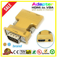 Hot HDMI Adapter Gold 1080P HDMI female to male HDMI to VGA converter cable For PC Xbox 360 PS3