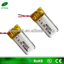 High quality 401022 lipo battery 3.7v 50mah rechargeable battery for camera pen