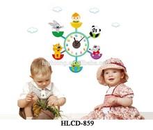 Diseño encantador Animal Sticker reloj removible etiqueta de la pared decoración reloj