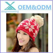 wholesale winter earflap pom pom beanie hat
