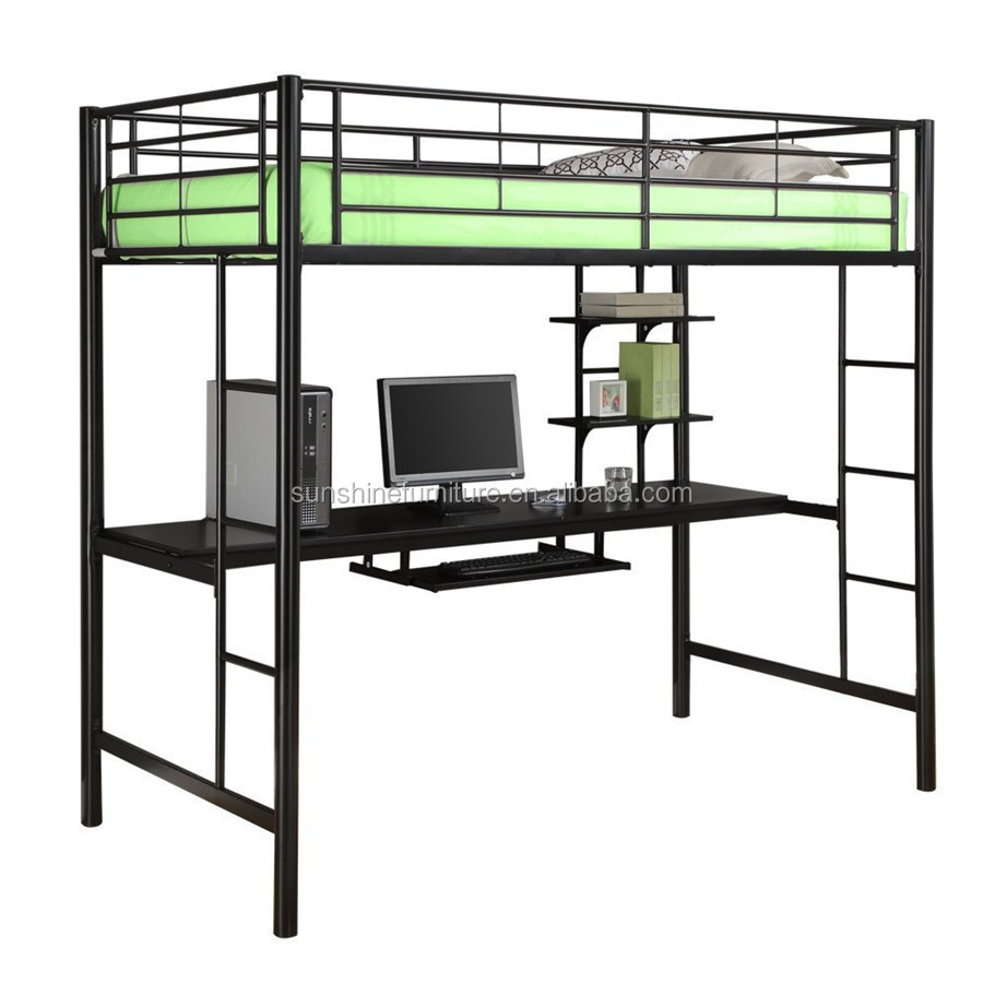 kids bedroom furniture black metal twin loft bed with desk