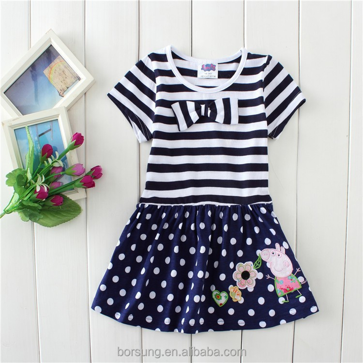 2015 summer fashion lovely little baby girl dress 2-6 year short sleeve stripes Polka dots 3 yea ...
