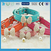 fashionable and economical pet dog collar with crystal bowtie and pearl pendant