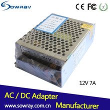 Aluminum 12v led adapter switching power supply for led cctv 12v 7a metal case adapter power charger