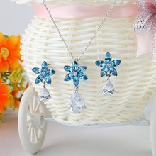 [JS010]Wholesale Fashion Women Jewelry Set for wedding/party,Flower with Teardrop stone Crystal Earring+Necklace jewelry set