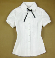 Oem white custom polycotton button polo women school uniform shirts