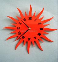 OEM custom sun shape colorful acrylic wall clock for bed room