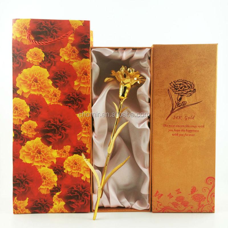 Wedding Decoration Arts And Crafts Mother Days Gift 24k Gold Rose Carnation