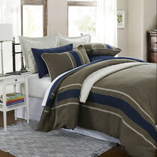 the new design 3-Piece Grasten Brown Woven Stripe Poly/Viscose Double Duvet Covers