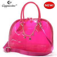 wholesale celebrity vintage lady designer patent bowler women candy jelly transparent handbags