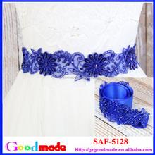 blue lace band as sash or headband for dress wedding