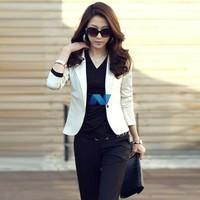 New Women OL Coat Lapel One Button Long Sleeve Short Suit Blazer Outerwear 5 Colors
