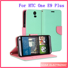 New Arrival Dual Colors Smart Stand PU Leather Wallet Flip Case Cover For HTC One E9 Plus
