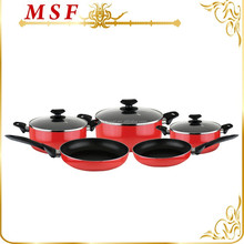 MSF-PA6204 South American pressing aluminum cookware set non stick cookware popular heat resistant painting color red & black