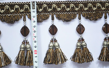 custom polyester tassel lace for decoration,curtain tassel fringe trim