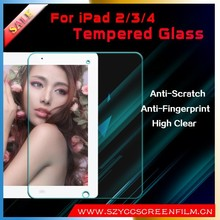 China manufacture touch screen tempered glass protector/film for ipad 2/3/4