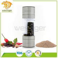 OEM ODM restaurant pepper spice grinder 100ml glass bottle with plastic salt and pepper grinder