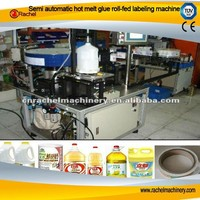 Semi automatic hot melt glue roll-fed labeling machine/machinery/line